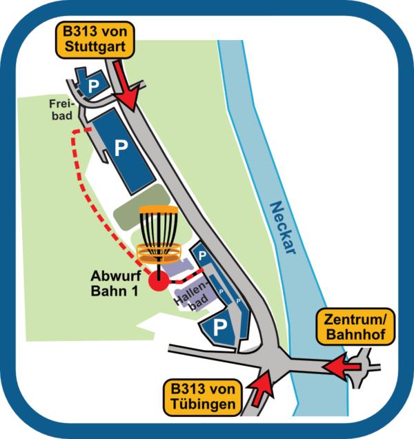 Discgolf Nürtingen: Anfahrt und Parken